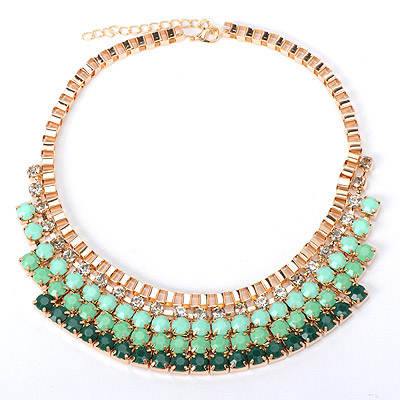 Pentacle Green Gemstone Decorated Multilayer Design Alloy Bib Necklaces