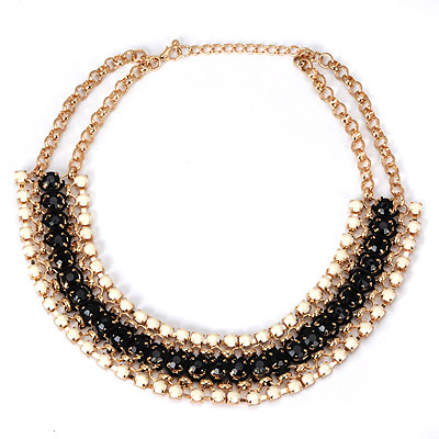 Faddish Black Gemstone Weave Design Alloy Bib Necklaces