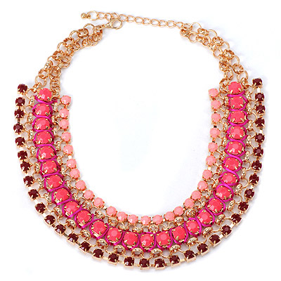 African Plum Red Gemstone Weave Design Alloy Bib Necklaces