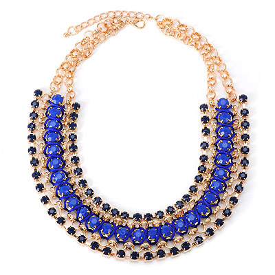 Kids Blue Gemstone Weave Design Alloy Bib Necklaces