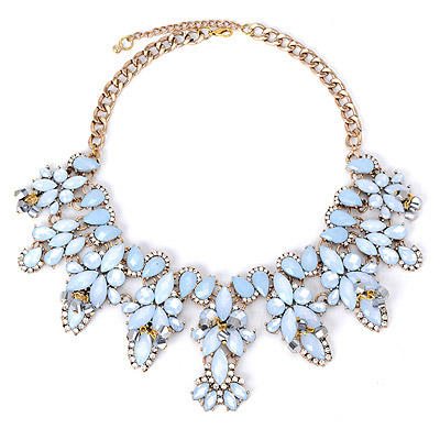 Correspond Blue Gemstone Decorated Leaf Shape Design Alloy Bib Necklaces