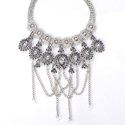 Contempora Silver Color Gemstone Decorated Tassel Design Alloy Bib Necklaces