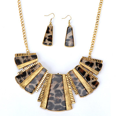 Hemp Dark Brown Trapezoid Decorated Stitching Design Alloy Jewelry Sets