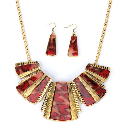 Long Red Trapezoid Decorated Stitching Design Alloy Jewelry Sets