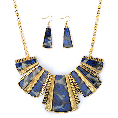 Fused Sapphire Blue Trapezoid Decorated Stitching Design Alloy Jewelry Sets