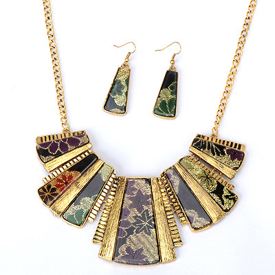 Luxury Green Trapezoid Decorated Stitching Design Alloy Jewelry Sets