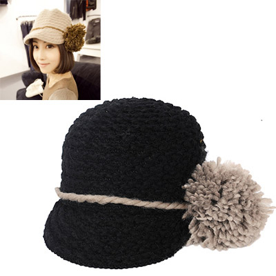 Fake Black Big Hairball Decorated Simple Design Wool Knitting Wool Hats
