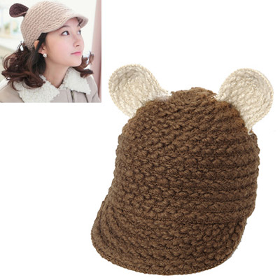 Executive Brown Ears Decorated Simple Design Wool Knitting Wool Hats