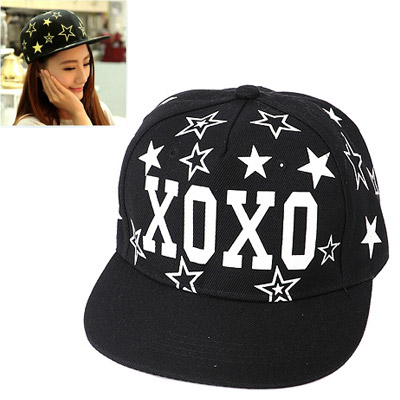 Medieval Black Printed Letter Xoxo Decorated Luminous Design Canvas Baseball Caps