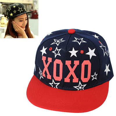 Rubber Red Printed Letter Xoxo Decorated Luminous Design Canvas Baseball Caps