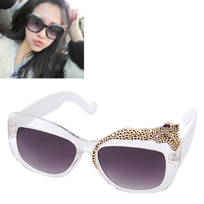 Attractive Transparent White Leopard Decorated Big Frame Design Alloy Women Sunglasses