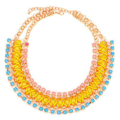 Electronic Yellow Gemstone Decorated Multilayer Design Alloy Bib Necklaces