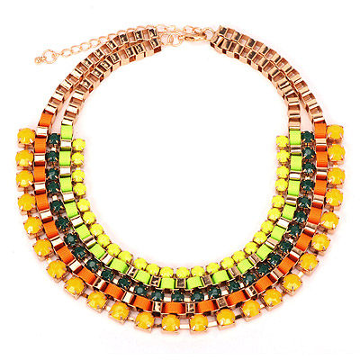 Kinetic Yellow Gemstone Decorated Multilayer Design Alloy Bib Necklaces