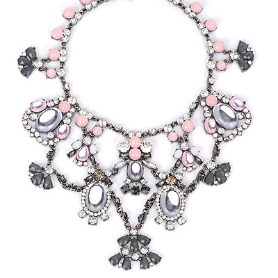 Monogramme White Gemstone Decorated Flower Shape Design Alloy Bib Necklaces