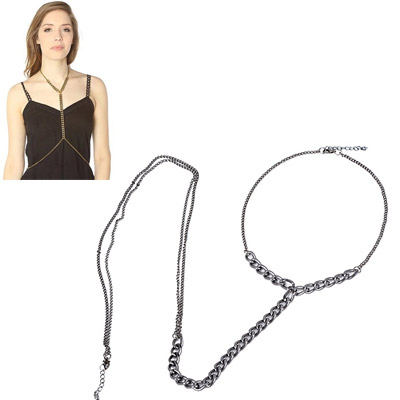 Torrid Gun Black Simple Design Alloy Body Chains