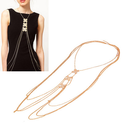 Lariat Gold Color Simple Tassel Design Alloy Body Chains