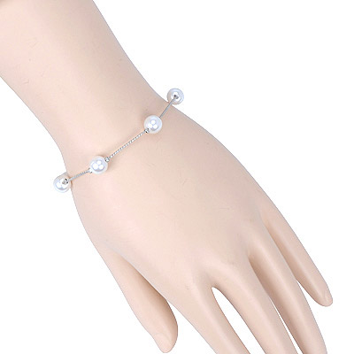 Printable Silver Color Pearl Decorated Simple Design Alloy Korean Fashion Bracelet
