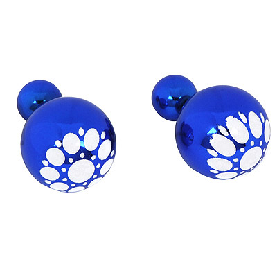 Stationery Dark Blue Round Pattern Simple Design Alloy Stud Earrings