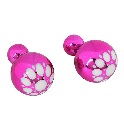 Art Plum Red Round Pattern Simple Design Alloy Stud Earrings