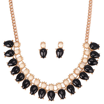 Skate Black Gemstone Decorated Waterdrop Shape Design Alloy Jewelry Sets