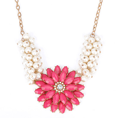 Charm Plum Red Pearl Decorated Flower Design Alloy Bib Necklaces