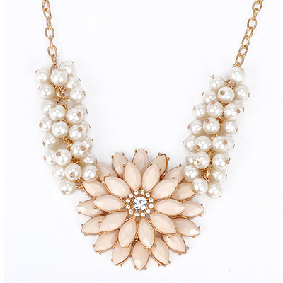 Friendship Beige Pearl Decorated Flower Design Alloy Bib Necklaces