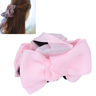 Teen Pink Bowknot Decorated Simple Design Acetate Sheet Hair clip hair claw