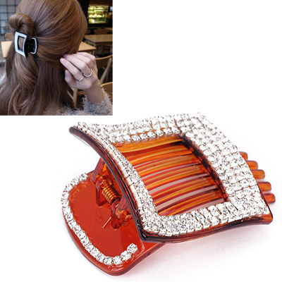 Concealed Coffee Diamond Decorated Square Shape Design Acetate Sheet Hair clip hair claw