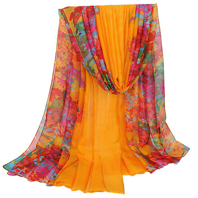 Seamless Yellow Flower Pattern Simple Design Silk Thin Scaves