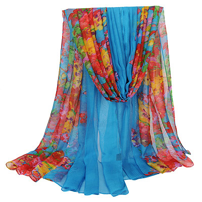 Glossy Blue Flower Pattern Simple Design Silk Thin Scaves