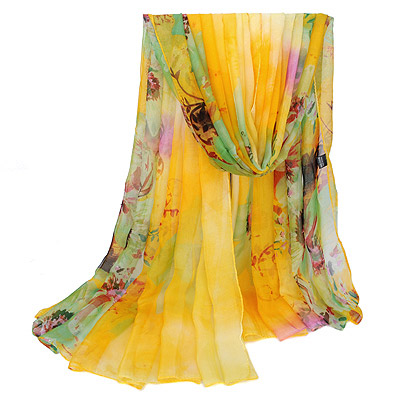 Fine Yellow Large Flower Pattern Gradient Design Silk Thin Scaves