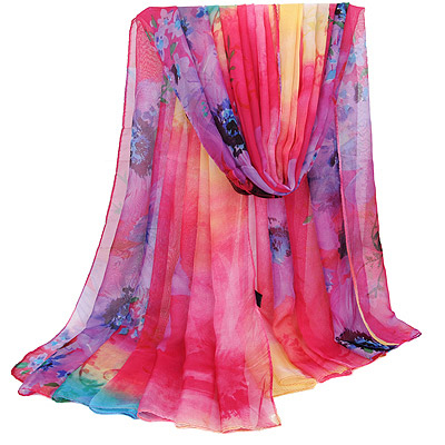 Pleated Plum Red Large Flower Pattern Gradient Design Silk Thin Scaves