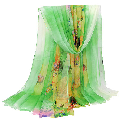 Fine Green Large Flower Pattern Gradient Design Silk Thin Scaves