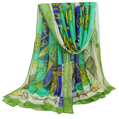 Graduated Green Chain Pattern Simple Design Silk Thin Scaves