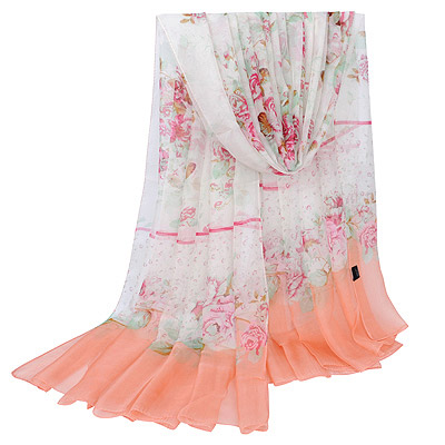 Twilight Pink Water Rose Pattern Simple Design Silk Thin Scaves