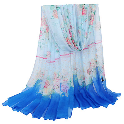 Vellum Blue Rose Pattern Simple Design Silk Thin Scaves