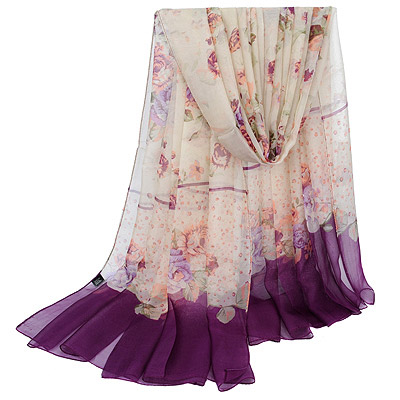 American Purple Rose Pattern Simple Design Silk Thin Scaves