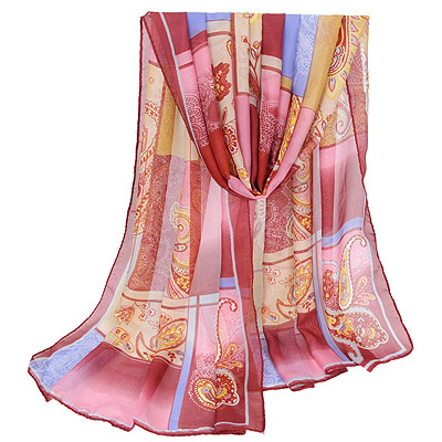 Classic Claret-red Flower Pattern Decorated Square Design Silk Thin Scaves