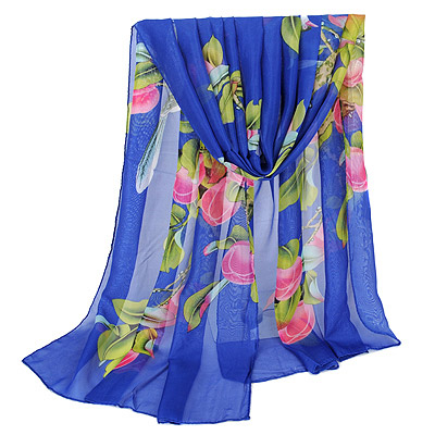 Digital Sapphire Blue bird pattern simple design Silk Thin Scaves