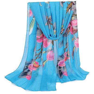 Energie Blue bird pattern simple design Silk Thin Scaves