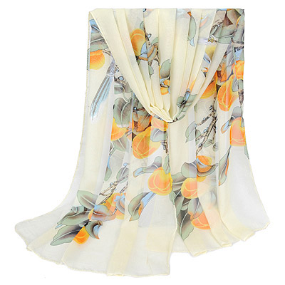 Energie Beige bird pattern simple design Silk Thin Scaves
