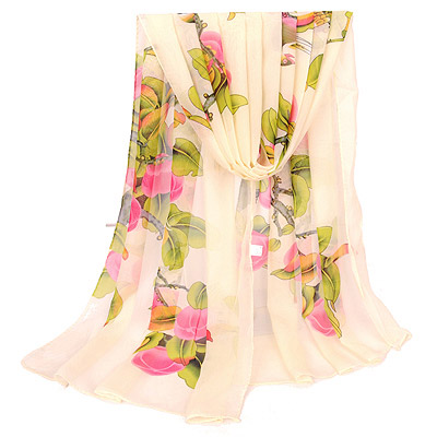 Rachel Beige Bird & Peach Pattern Simple Design Silk Thin Scaves
