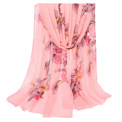 Chic Pink Bird & Peach Pattern Simple Design Silk Thin Scaves
