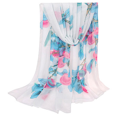 Cheerleadi White Bird & Peach Pattern Simple Design Silk Thin Scaves