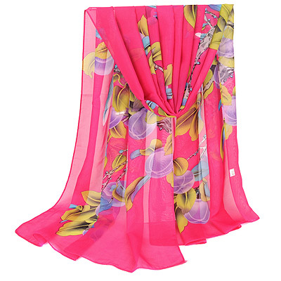 Catholic Plum Red Bird & Peach Pattern Simple Design Silk Thin Scaves