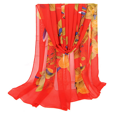 Slacks Red Bird & Peach Pattern Simple Design Silk Thin Scaves