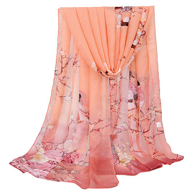 Vellum Pink Bird & Flower Pattern Simple Design Silk Thin Scaves