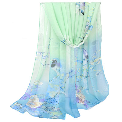 Bohemian Blue Bird & Flower Pattern Simple Design Silk Thin Scaves
