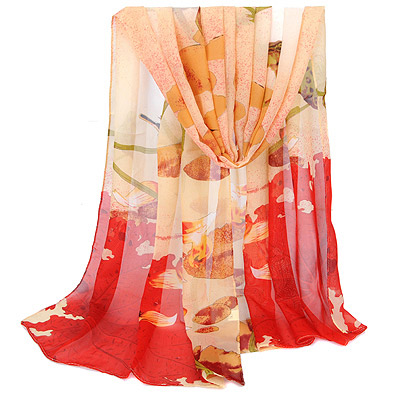Fantastic Red Lotus Leaf Pattern Simple Design Silk Thin Scaves