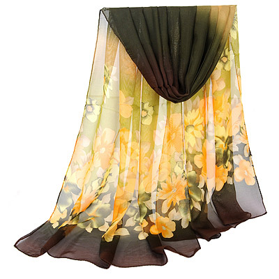 Magnetic Dark Coffee Gradient Flower Pattern Simple Design Silk Thin Scaves